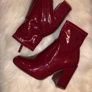 Red patent leather Steve Madden booties